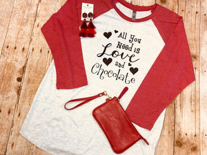 All You Need is Love and Chocolate red raglan tee - Sew Cute By Katie