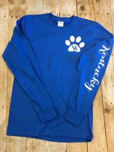Long Sleeve Royal blue Kentucky paw print t-shirt - Sew Cute By Katie