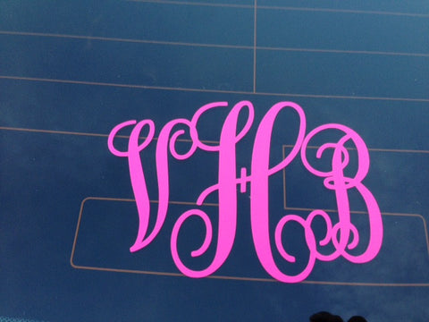 Interlocking Vinyl Monogram Decal - Sew Cute By Katie