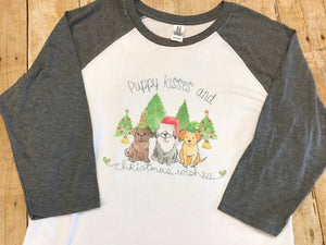Puppy Kisses and Christmas Wishes Christmas Raglan T-shirt
