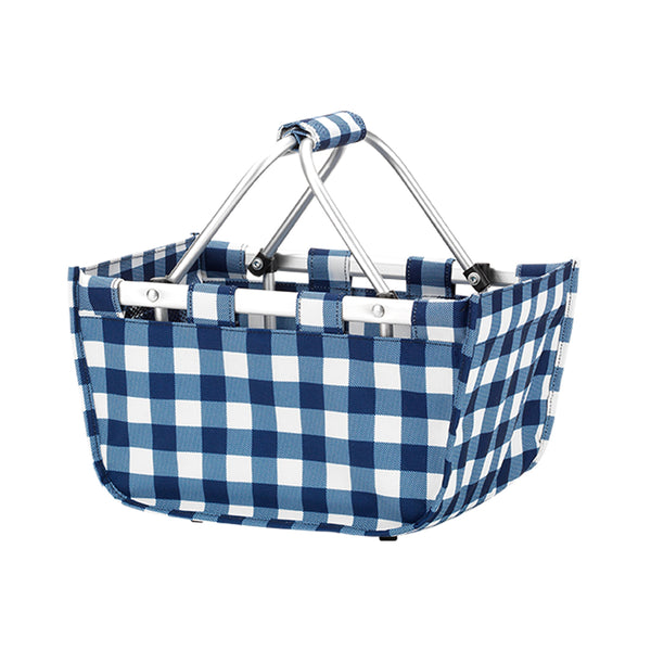 Mini Market Tote - navy gingham