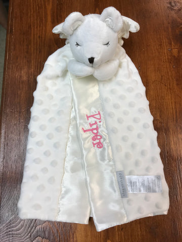 Blankie Monogramed Prayer Bear security blanket - Sew Cute By Katie