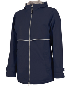 Raincoat Rain Jacket with Monogram - Navy - Sew Cute By Katie