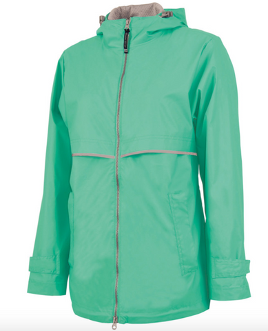 Raincoat Rain Jacket with Monogram - Mint - Sew Cute By Katie
