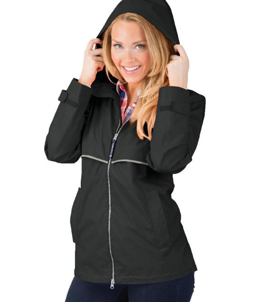 Raincoat Rain Jacket with Monogram - Black - Sew Cute By Katie