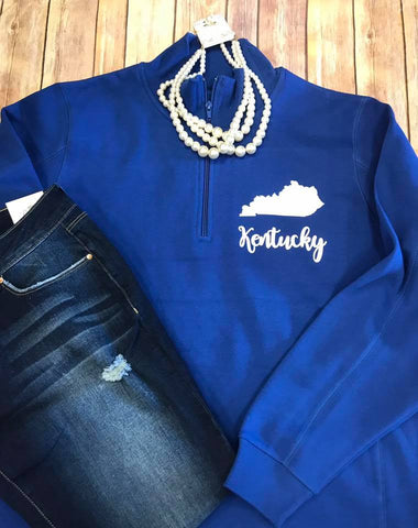 Kentucky Wildcats Royal Blue 1/4 Zip Sweatshirt - Sew Cute By Katie