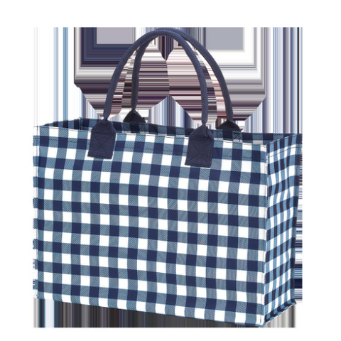 Open Top Tote Bag - Navy Gingham - Sew Cute By Katie