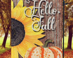 Hello Fall Garden Flag, Sun Flower and Pumpkin - Sew Cute By Katie