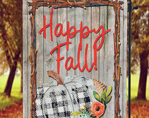 Happy Fall Garden Flag, Gingham Pumpkin - Sew Cute By Katie