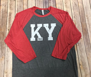 KY 502 Raglan Red sleeve - Sew Cute By Katie