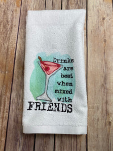 Wine, Good Friends, Poor Choices Hand Towel, Bar Towel