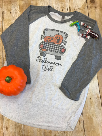 Halloween Y'all Raglan T-shirt - Sew Cute By Katie