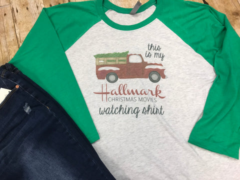 Hallmark Christmas Movies Watching Raglan Tee - Sew Cute By Katie