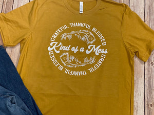 Grateful Thankful Blessed Mustard Short Sleeve Tee