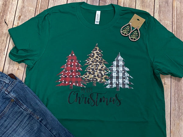 Patterned Christmas Tree Green Short Sleeve Tee
