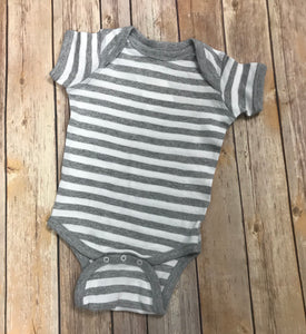 Monogram Baby Onesie Bodysuit - Gray with White Stripes - Sew Cute By Katie