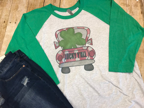 St. Patty's Day Shamrock Truck Raglan T-shirt with green sleeves - Sew Cute By Katie