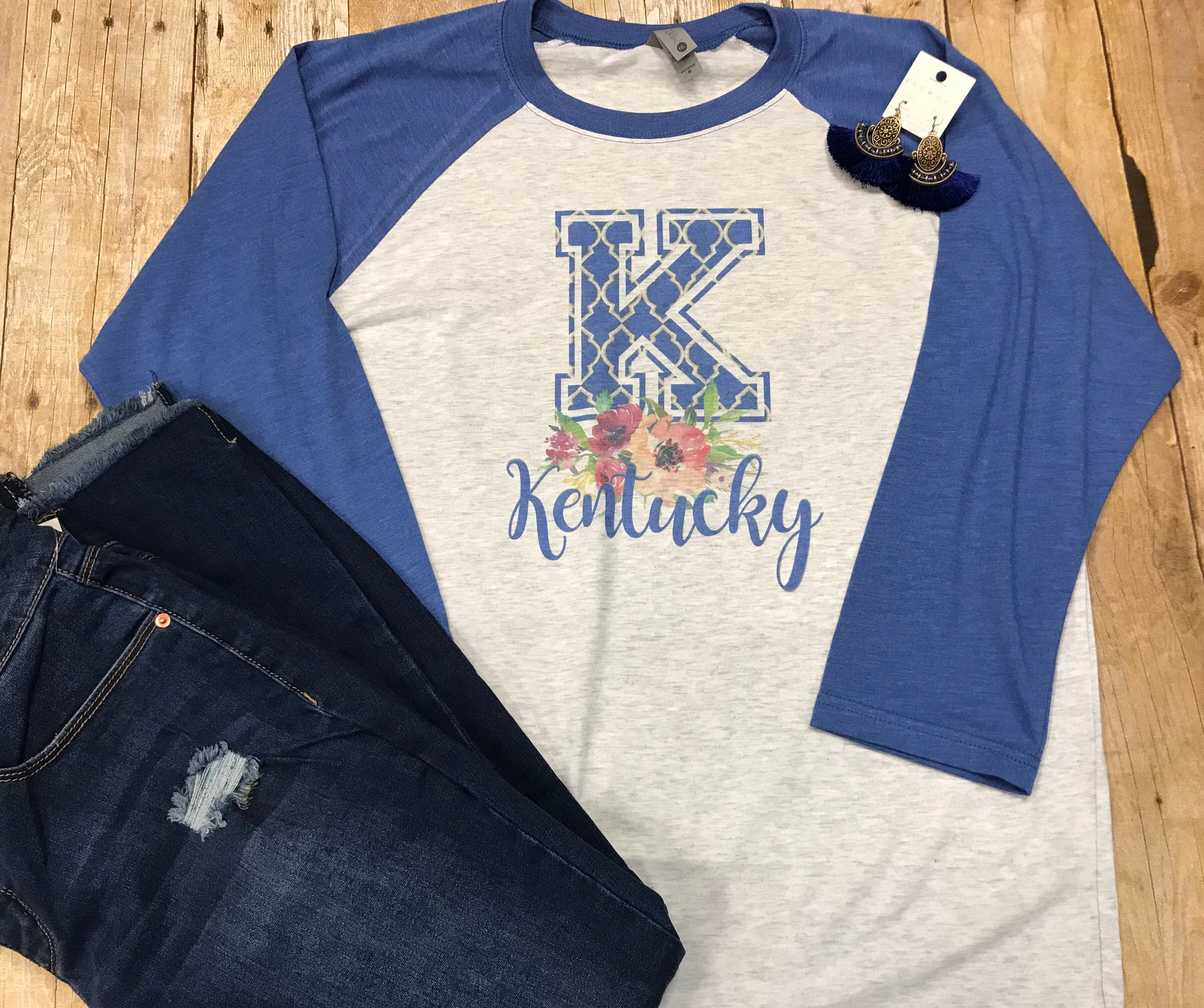 Kentucky Floral Blue Raglan T-shirt - Sew Cute By Katie