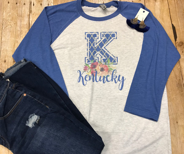 Kentucky Floral Blue Raglan T-shirt