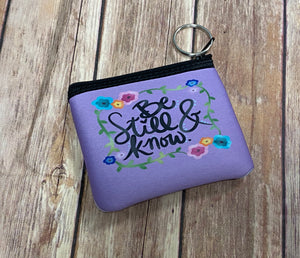 Zip pouch key fob - Be still and know