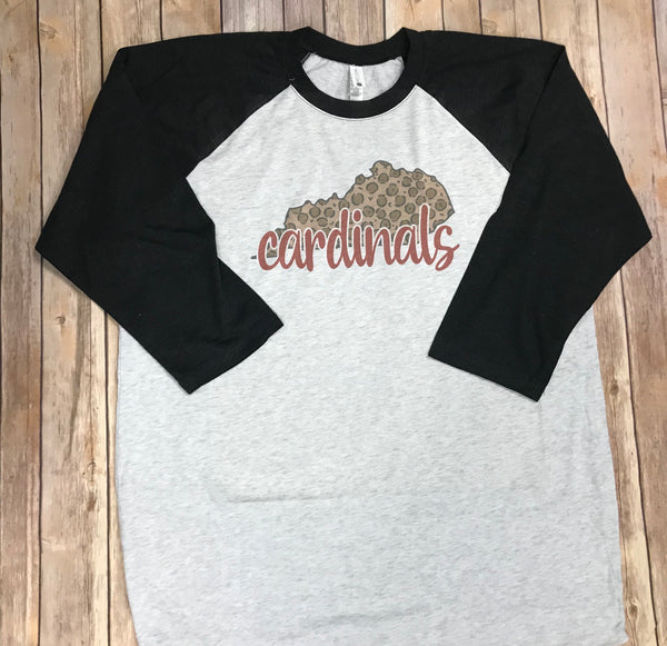 Leopard Cardinals Raglan T-shirt - Sew Cute By Katie