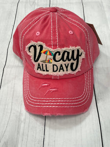 Vacay All Day Washed Vintage Ball Cap - Coral