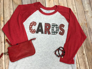 CARDS Red Raglan T-Shirt - Sew Cute By Katie