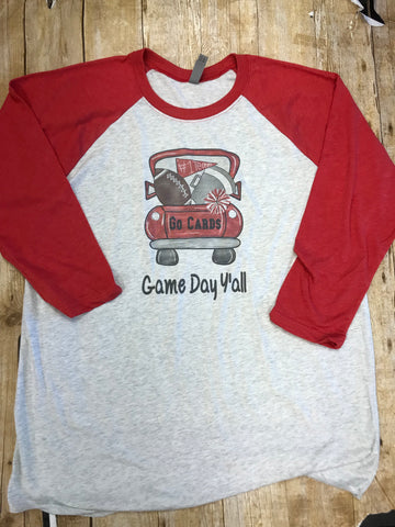 Cardinals Game Day Y'all Football Pickup Truck Raglan Tshirt - Sew Cute By Katie