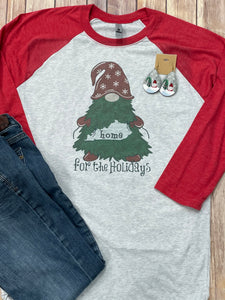 Home for the Holidays Gnome Red Raglan Christmas Shirt