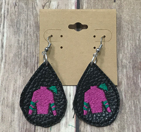 Jockey Silk Earrings - Black leather - Sew Cute By Katie