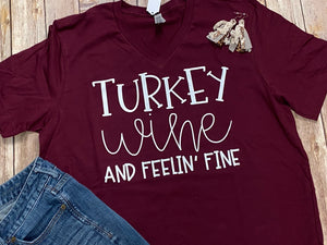Turkey Wine and Feeling Fine V-neck