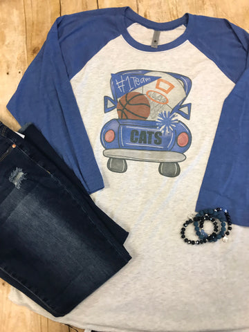 Cats Basketbal Truck Raglan T-shirt with blue sleeves - Sew Cute By Katie