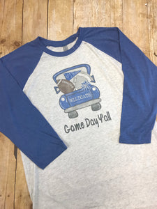 Wildcats Game Day Y'all Football Pickup Truck Raglan Tshirt - Sew Cute By Katie