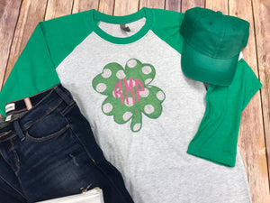 Shamrock with monogram raglan tshirt