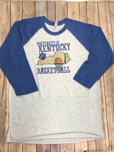 Kentucky Basketball  Blue Raglan T-Shirt - Sew Cute By Katie