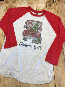 Christmas Y'all Santa Truck Raglan