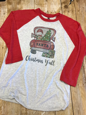 Christmas Y'all Santa Truck Raglan - Sew Cute By Katie