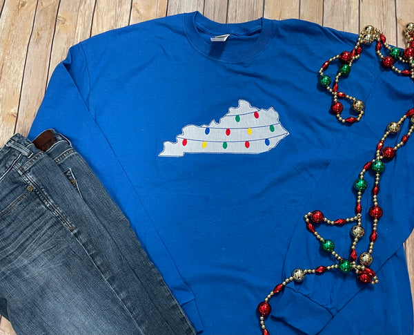 Kentucky Christmas Lights Long Sleeve Tee