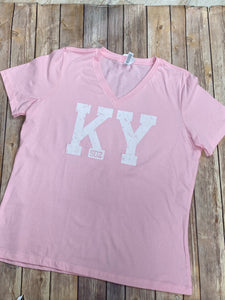 KY 502 Pink V-neck t-shirt - Sew Cute By Katie