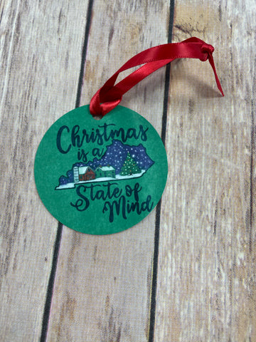 Kentucky is a Christmas State of Mind Ornament, Keepsake Ornament