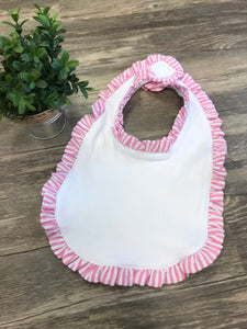Baby Bib with Ruffle - pink - Sew Cute By Katie