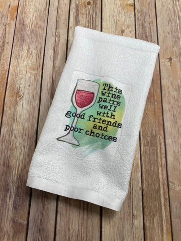 Drinks and Friends Hand Towel, Bar Towel