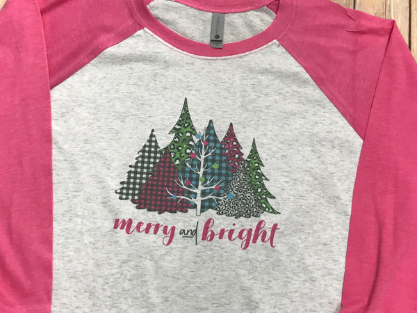 Merry and Bright Christmas Tree Raglan - Sew Cute By Katie