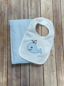 Whale Bib and Burp Cloth Gift gift set -blue