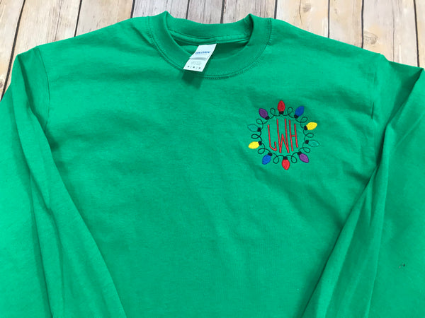 Christmas Lights Monogram T-shirt - Sew Cute By Katie