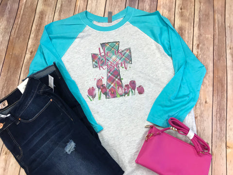 Cross Raglan T-shirt with aqua sleeves, He is Risen