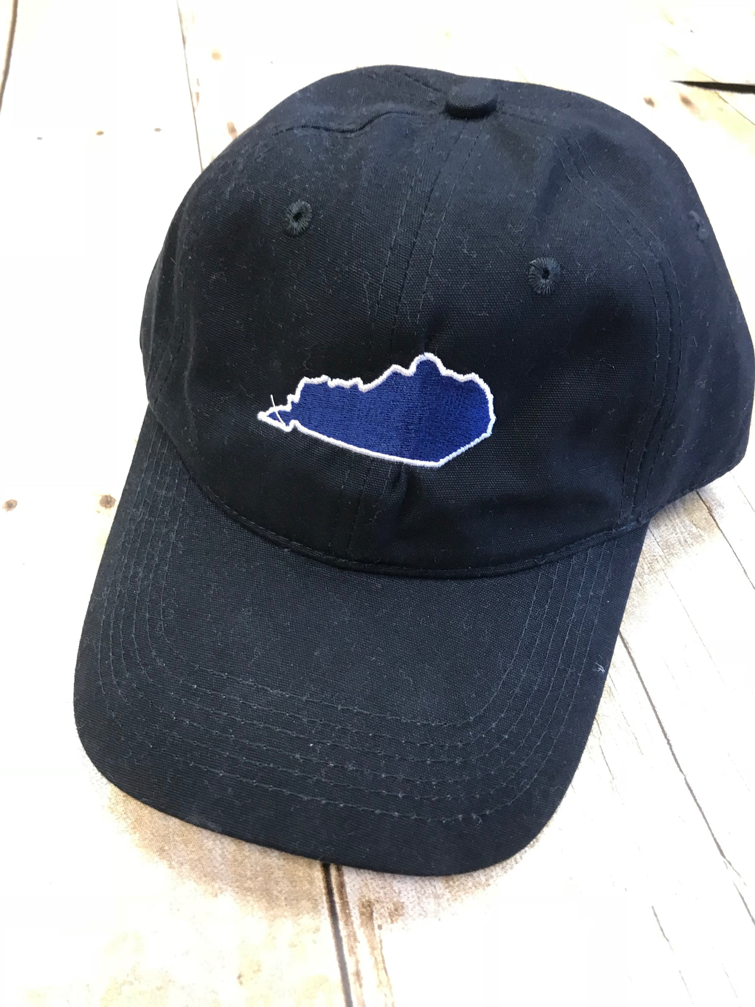 Baseball Hat - Black with BLUE embroidered State of KY - Sew Cute By Katie