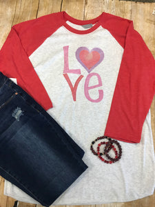 Valentine LOVE Raglan T-shirt with red sleeves - Sew Cute By Katie