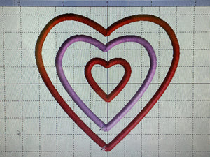 Triple Heart embroidery design