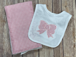 Pink bow Bib and Burp Cloth Gift gift set